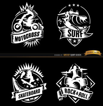 4 Extreme sports and rock badges - Free vector #181441