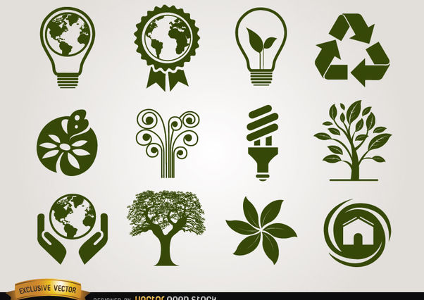 Ecologic icons green - Free vector #181471