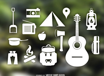 Camping items set - vector gratuit #181561