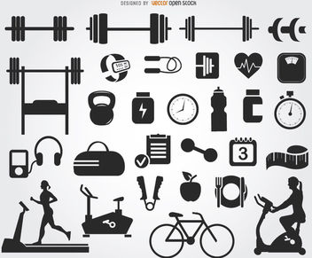 29 Gym icons silhouettes - Free vector #181581