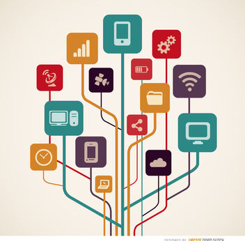 Computer technology icons tree - vector #181591 gratis
