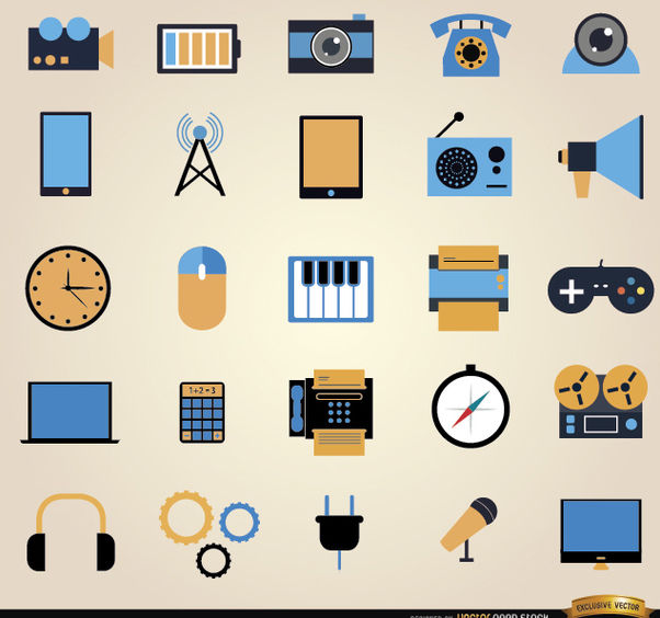 25 Communication tools icon set - Free vector #181641