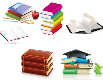 Glossy Book & Education Elements - vector gratuit #181671