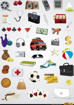 40 Holidays entertainment icons set - Free vector #181691