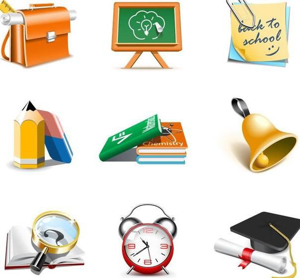 Escola tema 3d Icon Set - Free vector #181721