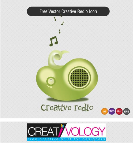 Creative 3D Radio Icon - бесплатный vector #181761