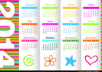 2014 Colourful Calendar - Free vector #181791