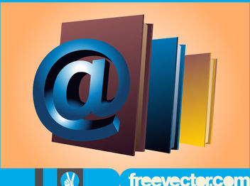 3D Books with Ape Tail Sign - Free vector #181871