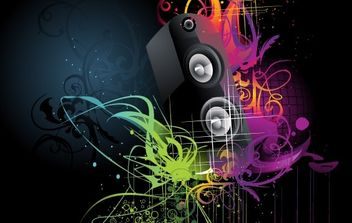 Grunge artistic speaker wallpaper - vector gratuit #181881
