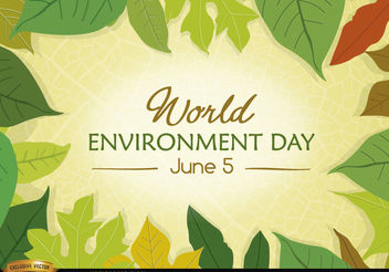 Leaves surrounding World Environment Day - Free vector #181901