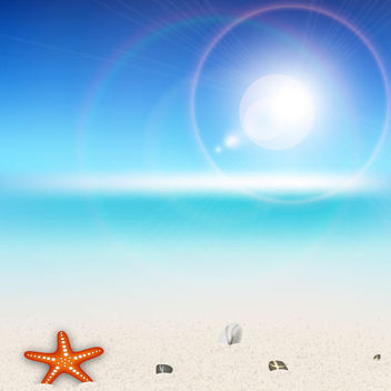 Tropical Beach with Glare of Sun Lens - vector gratuit #181911