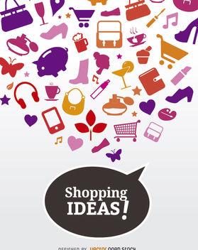 Shopping ideas icons poster - vector gratuit #181981