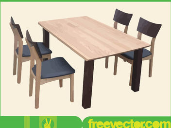 Wood Made Dining Furniture - бесплатный vector #182011