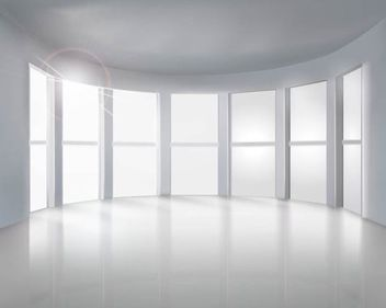 Realistic Empty Room with Big Windows - vector gratuit #182041
