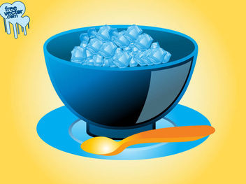 Ice Cubes with Bowl in 3D Style - Free vector #182141