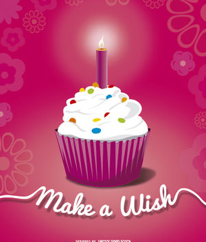 Birthday cupcake candle - Free vector #182191