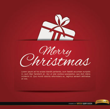 Merry Christmas red gift card - vector gratuit #182201