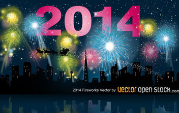 2014 fireworks with city skyline - vector gratuit #182241