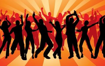 People silhouettes dancing party - vector gratuit #182261