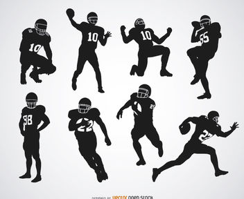 American Football players silhouettes - vector gratuit #182301