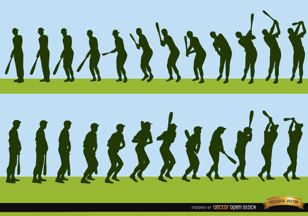 Sequence of baseball player batting silhouettes - Free vector #182331