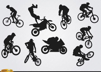 Bicycle motocross BMX silhouettes - Free vector #182351