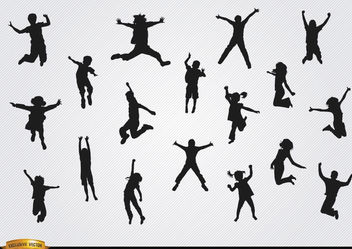 Children jumping silhouettes pack - vector gratuit #182361