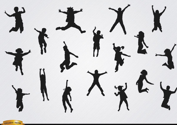 Children jumping silhouettes pack - Free vector #182361