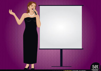 Female singer with a presentation screen - vector gratuit #182481