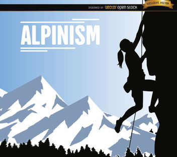 Alpinism woman background - vector gratuit #182531