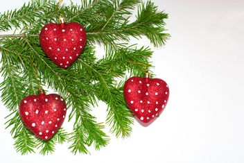 Branch of Christmas tree with decorations - image #182611 gratis