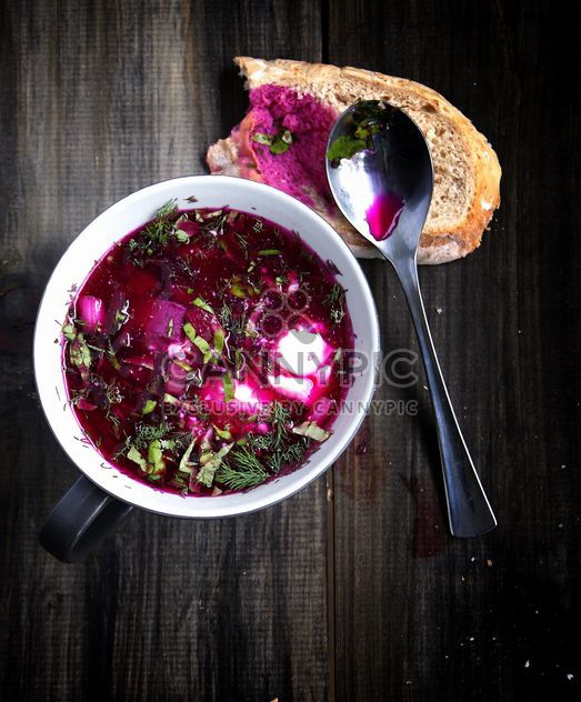 bowl of cold borscht, sup - Free image #183911