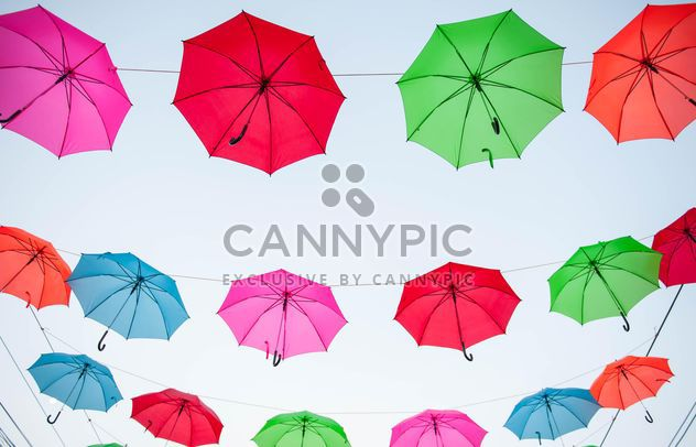 colored umbrellas hanging - Free image #186541