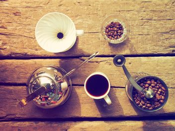 Coffee set on wooden background - бесплатный image #186961