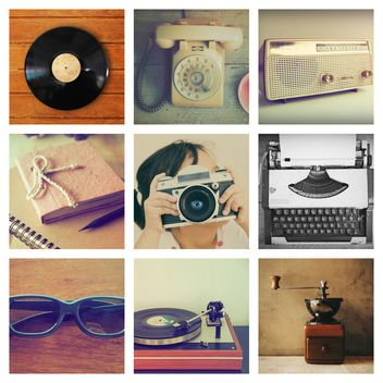 Collage of photos with vintage objects - image gratuit #187091