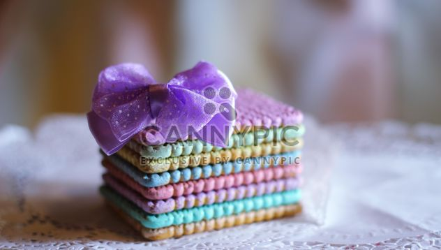 Colorful cookies with a purple bow - Free image #187411
