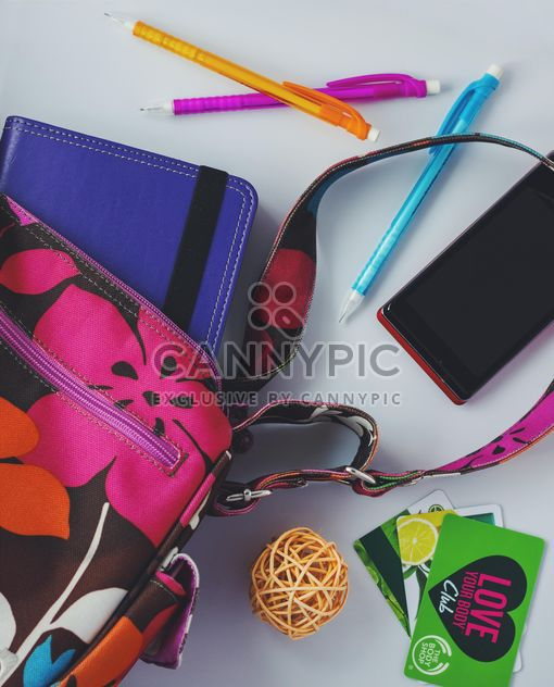 Things from female handbag on white background - Free image #187901