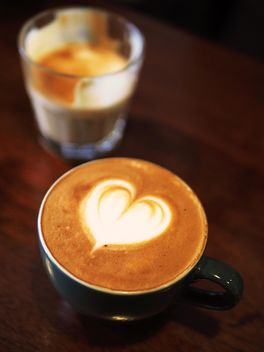 Coffee with foam heart - image #197861 gratis