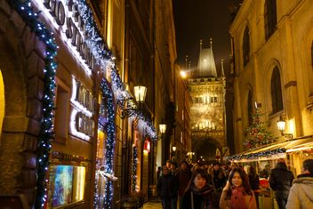 #prague #czech #czechrepublic #europe #architecture #buildings #outdoor #travel #tourism #view #lights #old #cityscape #city #scene #nightshot #night #christmas #xmas #newyear #garlands - Free image #198631