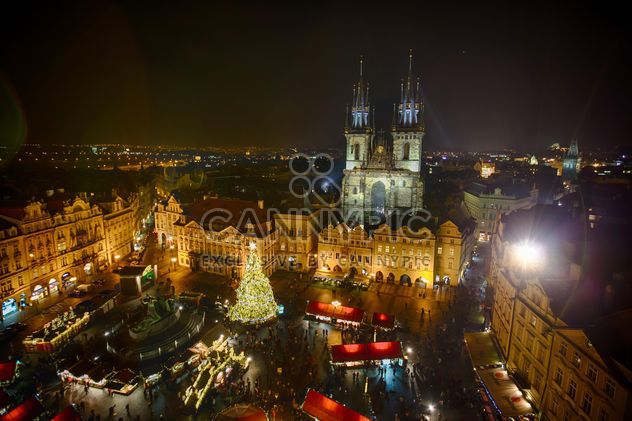 square with Christmas tree at night in czech republic,Twin towers of Tyn cathedral in Prague, - Free image #198641