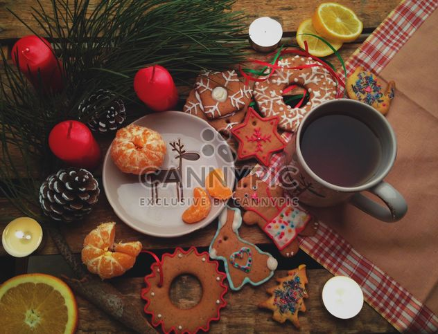 Christmas cookies and tangerines - Free image #198841