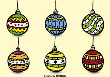 Hand drawn christmas spheres - vector gratuit #199131