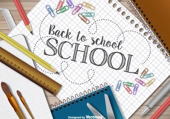 Back to school template - vector gratuit #199271