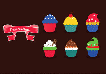Delicious yummy vector cupcakes with sprinkles - бесплатный vector #199411
