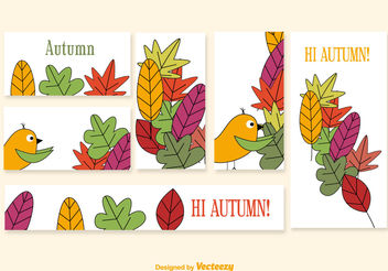Banners with cartoon seasonal elements - vector gratuit #199461