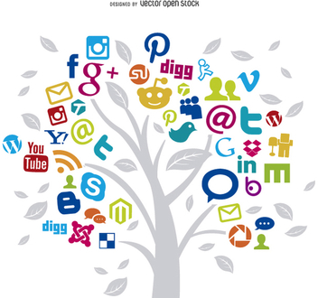Social Networks Tree Concept - Free vector #199581