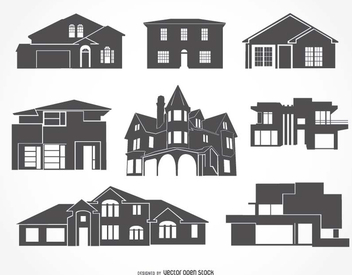 House silhouettes collection - vector gratuit #199801