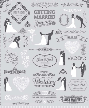 Wedding Graphic Set - Free vector #200041