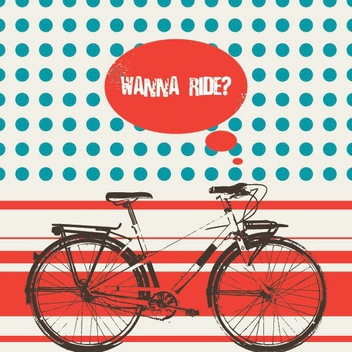 Retro Bicycle Riding Poster - Free vector #200061