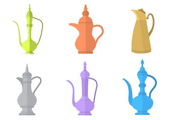 Arabic Coffee Pot Vectors - vector #200221 gratis